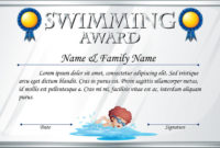 Certificate Template For Swimming Award Stock Vector in Printable Swimming Certificate Templates Free