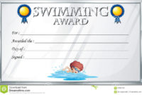 Certificate Template For Swimming Award Stock Vector throughout Free Swimming Certificate Templates