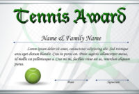 Certificate Template For Tennis Award Stock Vector with Awesome Printable Tennis Certificate Templates 20 Ideas