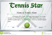 Certificate Template For Tennis Star Stock Vector For intended for Awesome Printable Tennis Certificate Templates 20 Ideas