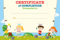 Certificate Template With Happy Children Vector Image with Printable Children'S Certificate Template