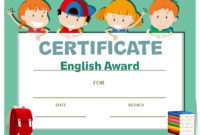 Certificate Template With Happy Kids  Download Free regarding Amazing Free Kids Certificate Templates