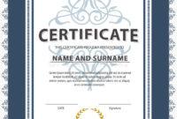 Certificate Templatediplomaletter Size Vector Stock regarding Best Certificate Template Size