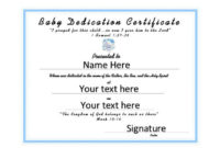 Certificate Templates Baby Dedication Certificates within Quality Free Fillable Baby Dedication Certificate Download