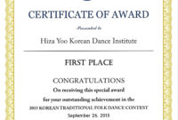 Certificate Templates First Place Certificate Sample With pertaining to Quality First Place Certificate Template