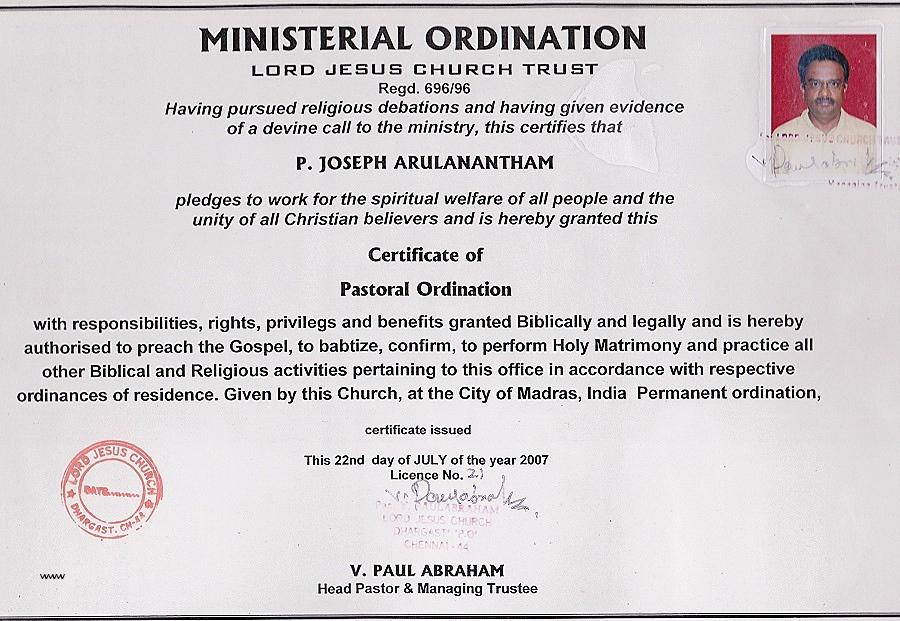 Certificate Templates Free Pastor Ordination Certificate with Certificate Of Ordination Template