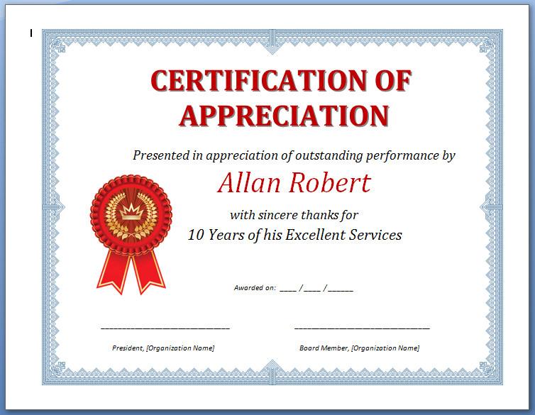 Certificateofappreciationeditablecertificateof within Amazing Sample Certificate Of Recognition Template