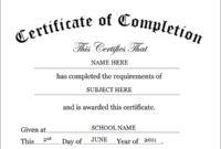 Certificateofcompletiontemplate regarding Free Certificate Of Completion Free Template Word