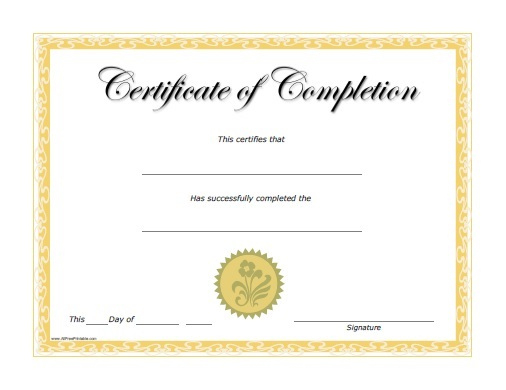 Certificates Of Completion  Certificate Templates within Printable Free Certificate Of Completion Template Word