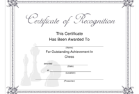 Chess Outstanding Achievement Certificate Template in Awesome Outstanding Performance Certificate Template