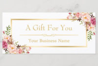 Chic Floral Gold Beauty Salon Gift Certificate  Zazzlecouk intended for Awesome Hair Salon Gift Certificate Templates