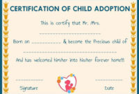 Child Adoption Certificates 10 Free Printable And throughout Best Child Adoption Certificate Template