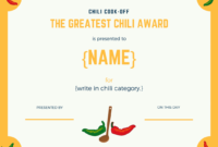 Chili Cookoff Insider Another Free Invite Scorecard in Cooking Competition Certificate Templates