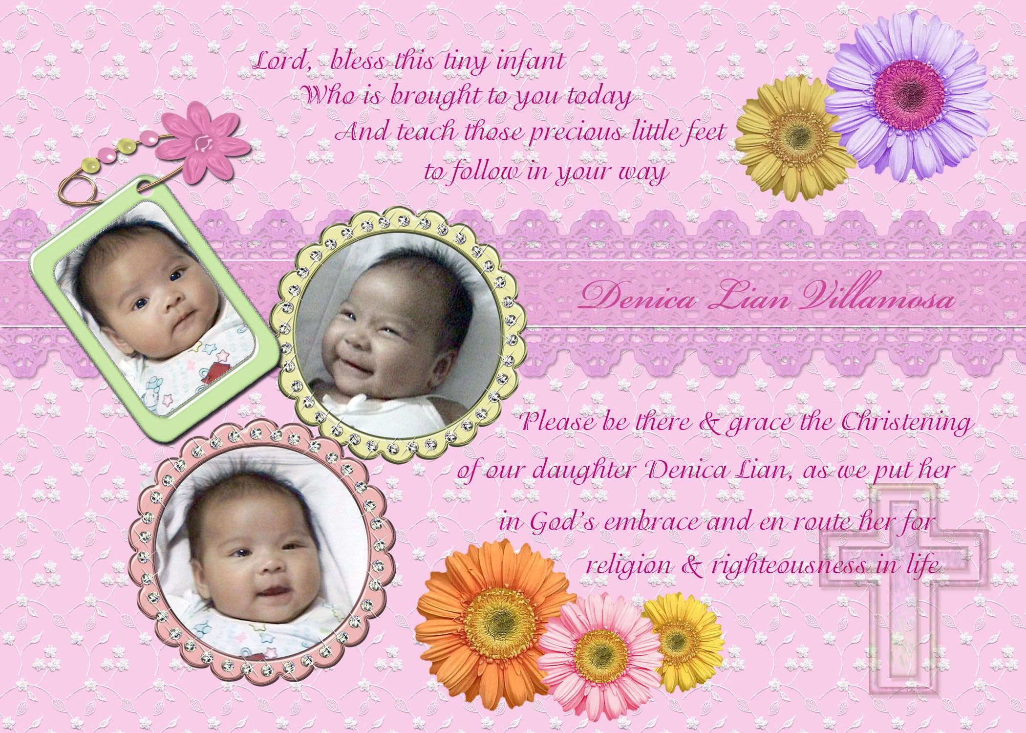 Christening Invitation Background For Baby Girl With pertaining to Printable Blessing Certificate Template Free 7 New Concepts