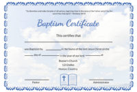 Christian Baptism Certificate Template  Professional Template intended for Best Christian Certificate Template