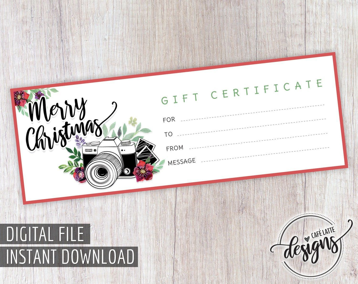 Christmas Gift Certificate Gift Certificate Printable throughout Photoshoot Gift Certificate Template