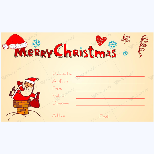 Christmas Gift Certificate Template Cheery 1875 in Free Christmas Gift Certificate Templates
