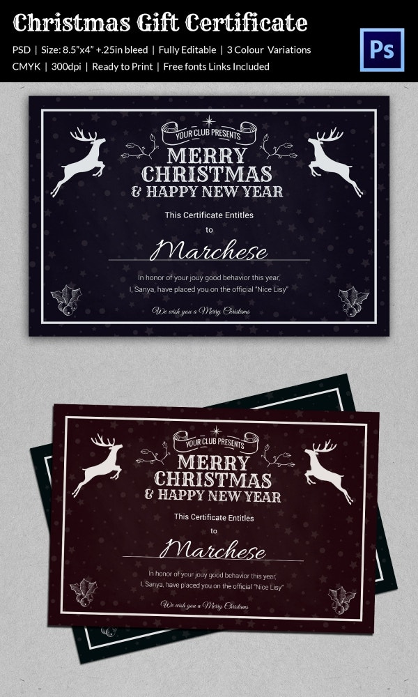 Christmas Gift Certificate Templates  21 Psd Format throughout Christmas Gift Certificate Template Free