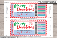Christmas Surprise Vacation Travel Ticket Template  Gift regarding Printable Travel Gift Certificate Editable