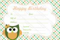 Circle Birthday Gift Certificate Template  Gift Certificates in Free Birthday Gift Certificate