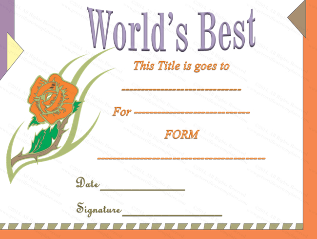Classic World'S Best Award Certificate Template  Awards inside Free Best Costume Certificate Printable Free 9 Awards