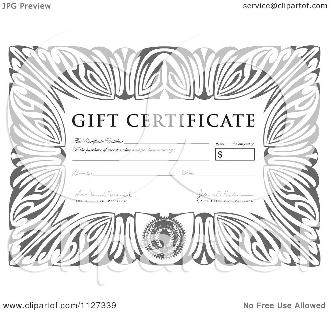 Clipart Of A Grayscale Gift Certificate With Sample Text with Free Tattoo Certificates Top 7 Cool Free Templates