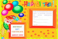 Colorful Clown Happy Birthday Gift Certificate Template regarding Birthday Gift Certificate