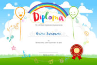Colorful Kids Summer Camp Diploma Certificate Template In inside Awesome Summer Camp Certificate Template
