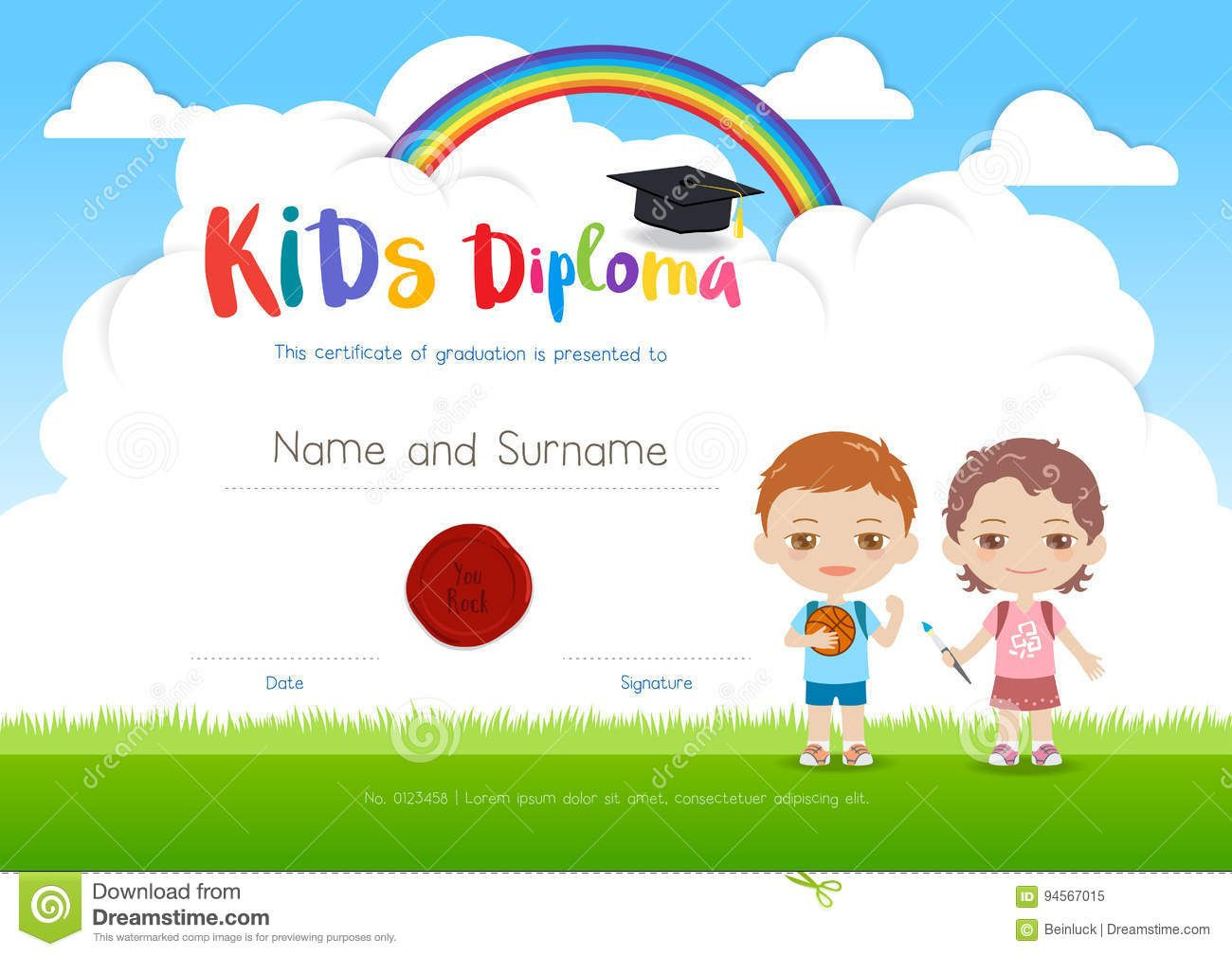 Colorful Kids Summer Camp Diploma Certificate Template In within Best Certificate For Summer Camp Free Templates 2020