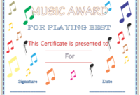 Colorful Musical Notes Award Certificate Template  Awards regarding Piano Certificate Template Free Printable