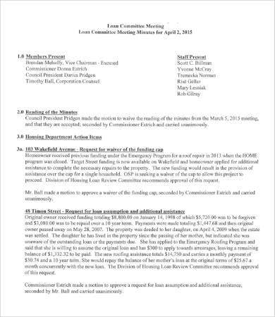 Committee Minutes Template  9 Free Word Pdf Documents with regard to First Board Meeting Agenda Template