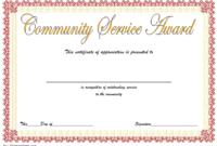 Community Service Certificate Template Free 12 Best with regard to Recognition Of Service Certificate Template