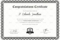 Congratulations Certificate Template In Congratulations with Congratulations Certificate Word Template