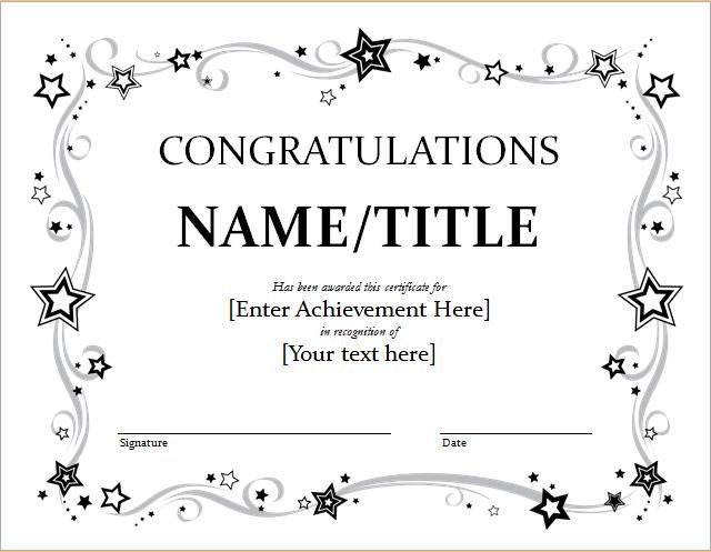 Congratulations Certificate Template Word  Blendu throughout Congratulations Certificate Templates