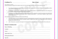 Construction Certificate Of Completion Template  Great within Quality Certificate Of Completion Construction Templates