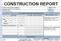 Contractors Daily Report Template Excel  Civil regarding Quality Training Cost Estimate Template