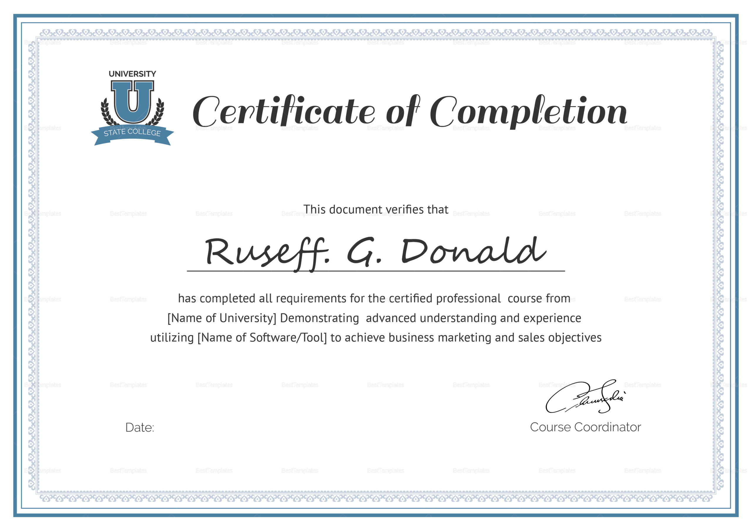 Course Completion Certificate Format Word  Calep in Training Course Certificate Templates