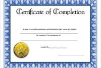 Coursecompletionblankexcellencecertificateofcompletion inside Free Training Completion Certificate Templates