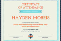 Customize 48 Attendance Certificate Templates Online  Canva intended for Job Well Done Certificate Template 8 Funny Concepts