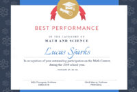 Customize Free Certificate Templates  Customize with Math Certificate Template 7 Excellence Award