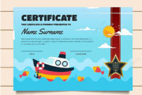 Cute Fishing Theme Children Certificate Of Achievement And for Quality Certificate Of Achievement Template For Kids