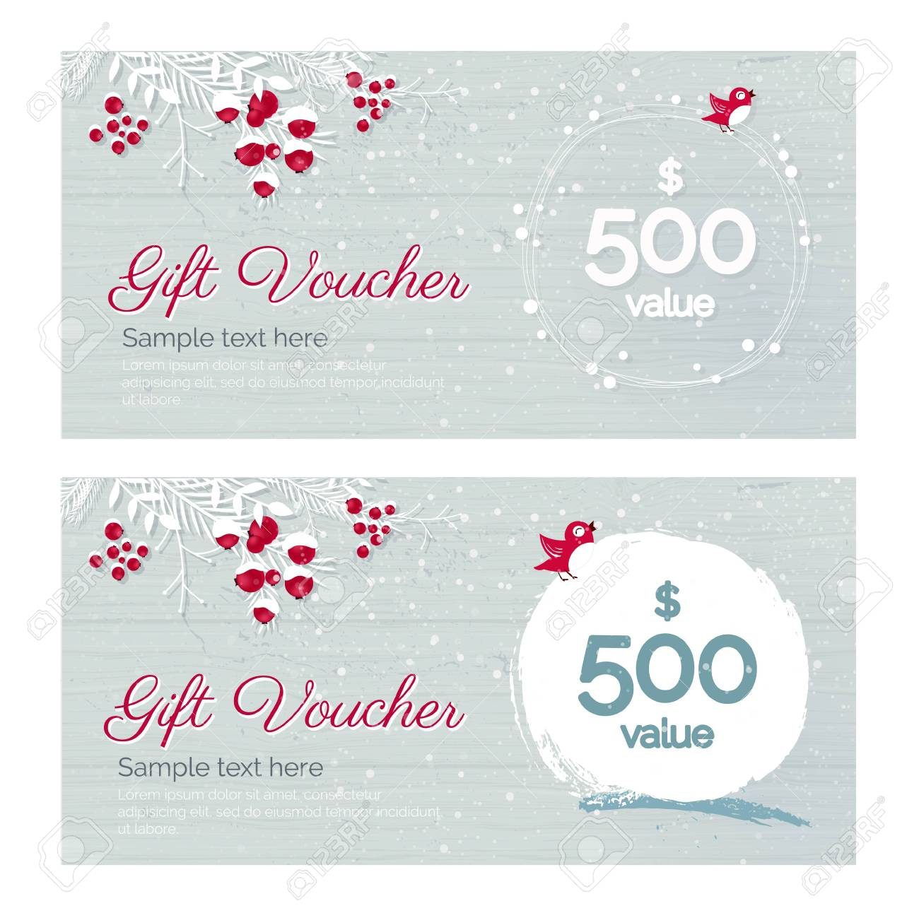 Cute Hand Drawn Christmas Gift Voucher Coupon Discount in Merry Christmas Gift Certificate Templates