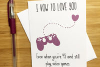 Cute Love Card For Video Game Lovers Happy Anniversary for Valentine Gift Certificates Free 7 Designs