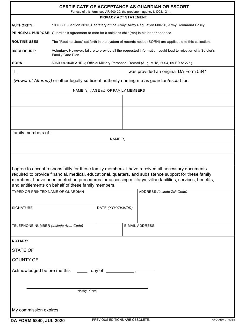 Da Form 5840 Download Fillable Pdf Or Fill Online in Awesome Certificate Of Acceptance Template