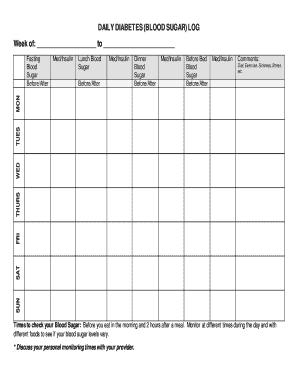 Daily Blood Sugar Log  Fillable  Printable Samples for Blood Glucose Log Template