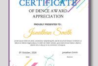 Dance Award Certificate Template Photoshop  Room Surf regarding Printable Dance Certificate Template