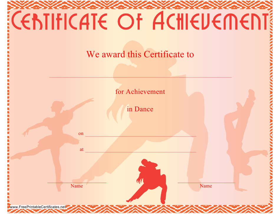 Dance Certificate Of Achievement Template Download within Ballet Certificate Templates