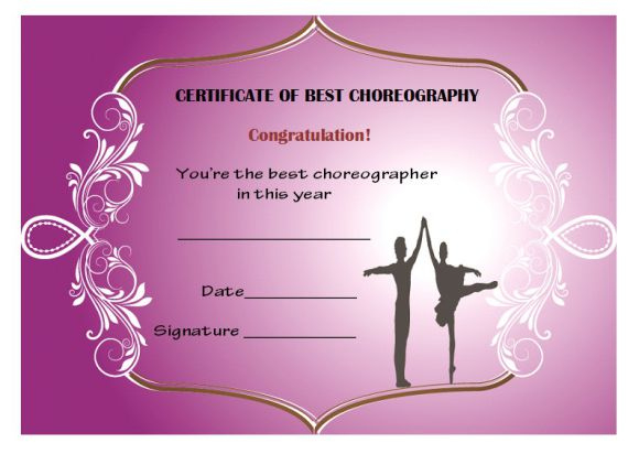 Dance Certificate Template 26 Free Certificates For Dance inside Ballet Certificate Templates