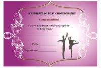 Dance Certificate Template 26 Free Certificates For Dance with regard to Amazing Dance Award Certificate Templates