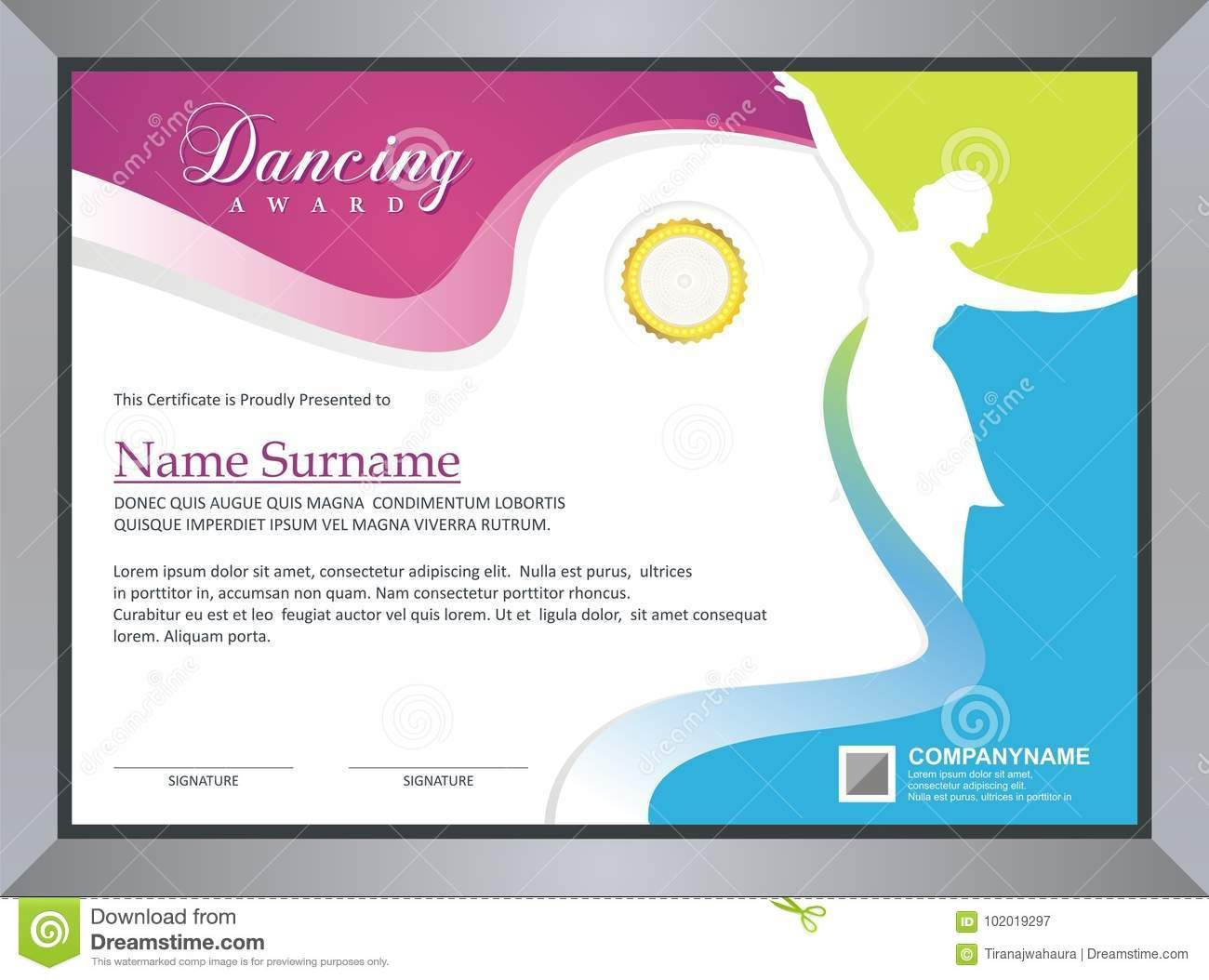 Dancing Certificate Stock Vector Illustration Of Within in Dance Award Certificate Template